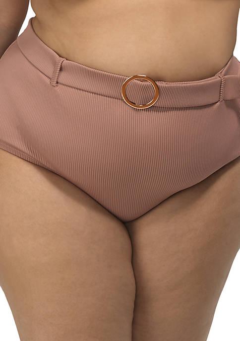 Plus Size High Wasted Bikini Swim Bottoms
