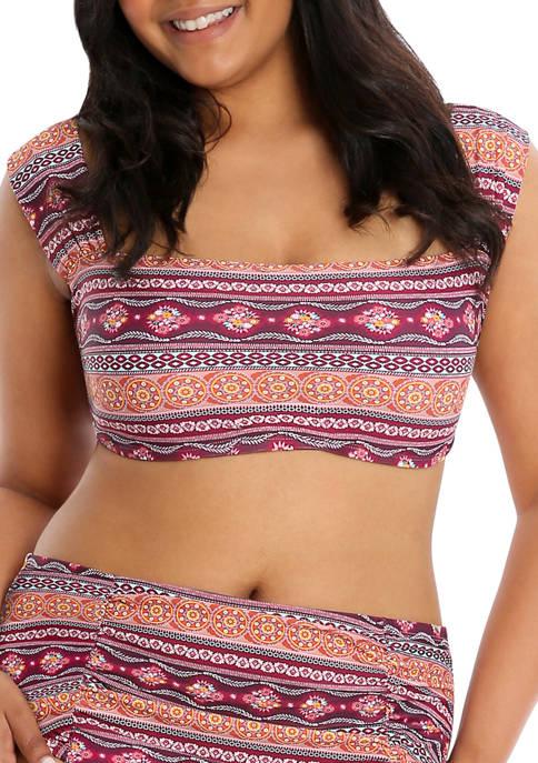 Lysa Plus Size Bandeau Style Bee Printed Bikini