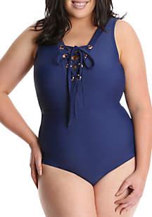 Lysa Plus Size Lace Up Front One Piece Swimsuit