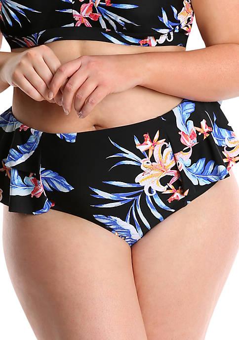 Plus Size Tropical Print High Waisted Bikini Swim Bottoms