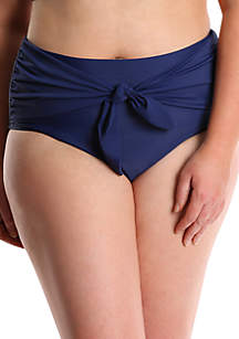 Lysa Plus Size High Waisted Bikini Swim Bottoms with Belt