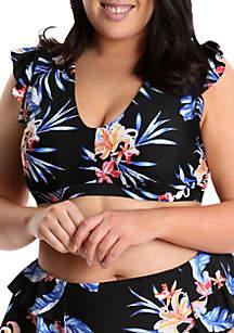 Lysa Plus Size Tropical Print Bikini Swim Top