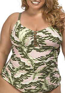 Lysa Plus Size Striped Tankini Swim Top