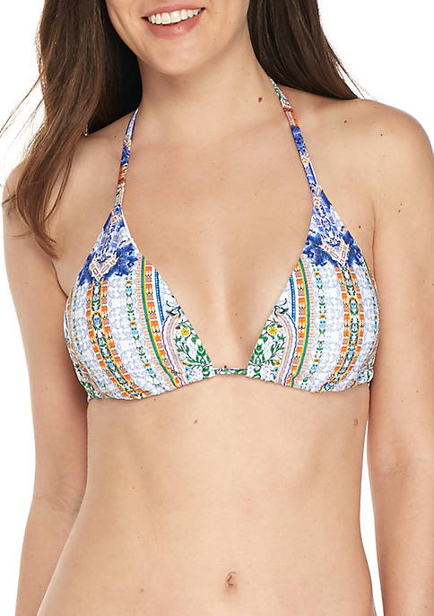 RACHEL Rachel Roy Moroccan Printed Triangle Swim Top
