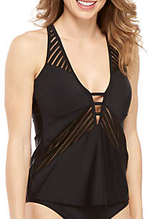 RACHEL Rachel Roy Swim Sheer Stripe Tankini Top