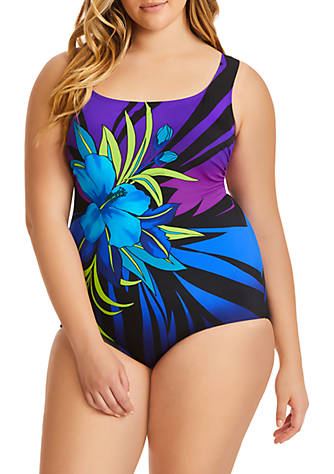 3814335250 Longitude Plus Size Pinata Panel Scoop Neck One-Piece Swim Suit