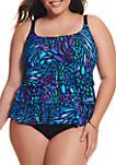 Plus Size Sunshower Triple Faux Swim Fauxkini
