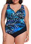 Plus Size Full of Shade Shirred Side One Piece Swimsuit