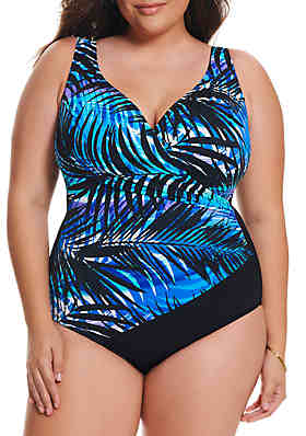 77a679aab0522 Longitude Plus Size Full of Shade Shirred Side One Piece Swimsuit ...