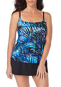 Longitude Ruffle Faux Skirtini Tropical Swim Dress