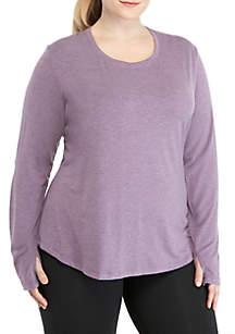 Plus Size Peek-A-Boo Long Sleeve Tee
