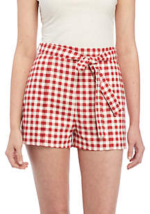 Matera High Waist Gingham Shorts