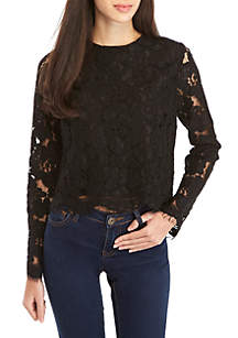 Erin Long Sleeve Lace Crop Top