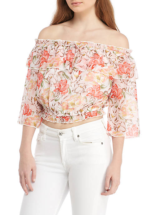 Wayf Cosenza Off-The-Shoulder Floral Crop Blouse