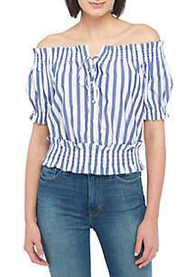 Castera Stripe Smocked Top