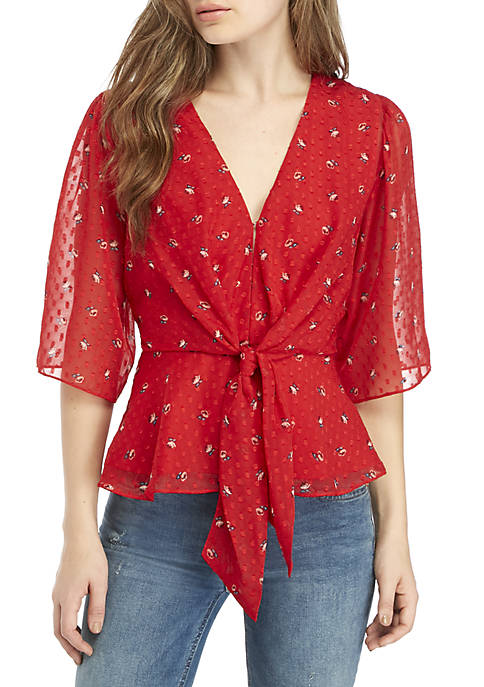 Amora Plunge Knot Front Tie Top