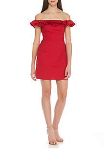 Gayle Off The Shoulder Ruffle Mini Dress