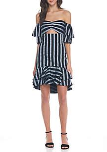 Teagan Off Shoulder Striped Ruffle Dress