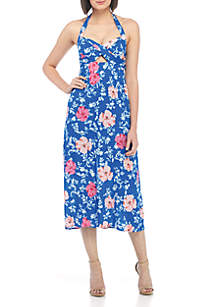 Ucca Cut-Out Floral Halter Dress