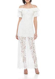 Tasha Off-The-Shoulder Halter Dress