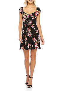 Haven Lace-Up Flutter Sleeve Dress