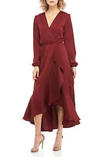 Barry Long Sleeve Ruffle Hem Wrap Dress