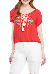 Embroidered Yoke Ruffle Short Sleeve Top