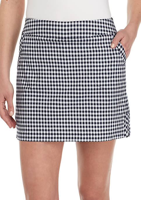 Gingham Print Tech Stretch Skort