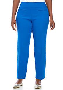 Plus Size Textured Pull-On Bi-Stretch Pants