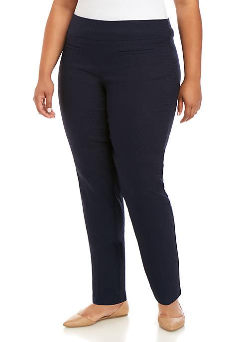 Plus Size Tech Stretch Jacquard Pants