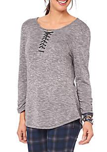 Long Sleeve Lace-Up Shirttail High Low Hem