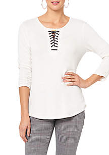 Long Sleeve Lace-Up Shirttail High Low Hem