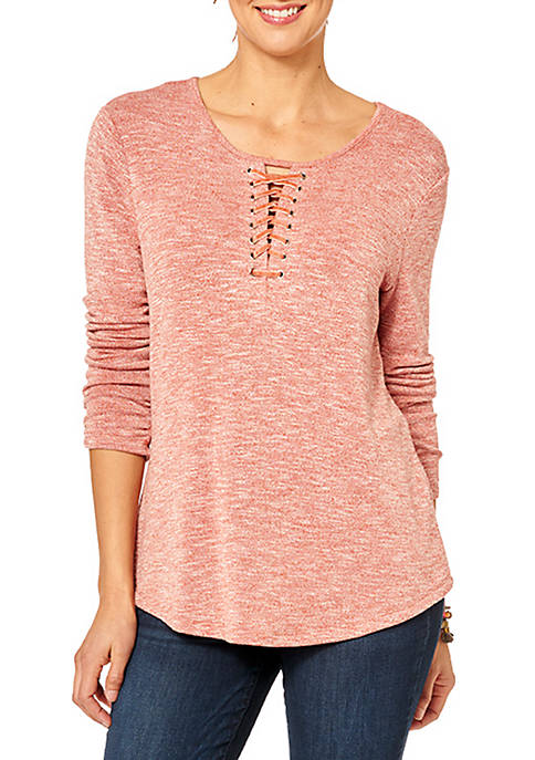 Democracy Long Sleeve Lace-Up Shirttail High Low Hem