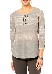 Three-Quarter Sleeve Lace-Up Printed Shirttail Hem Top