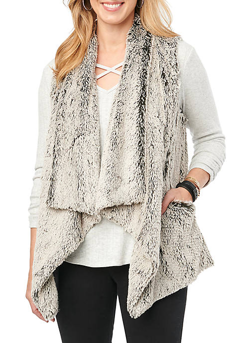 Democracy Womens Wavy Draped Fur Vest