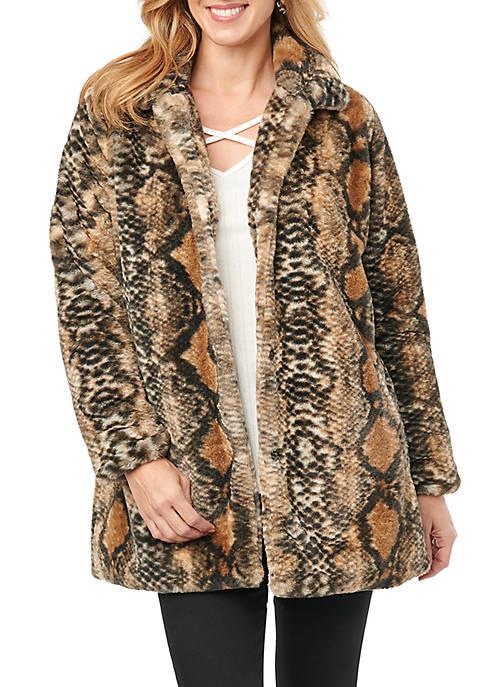 Womens Snake Print Fur Coat