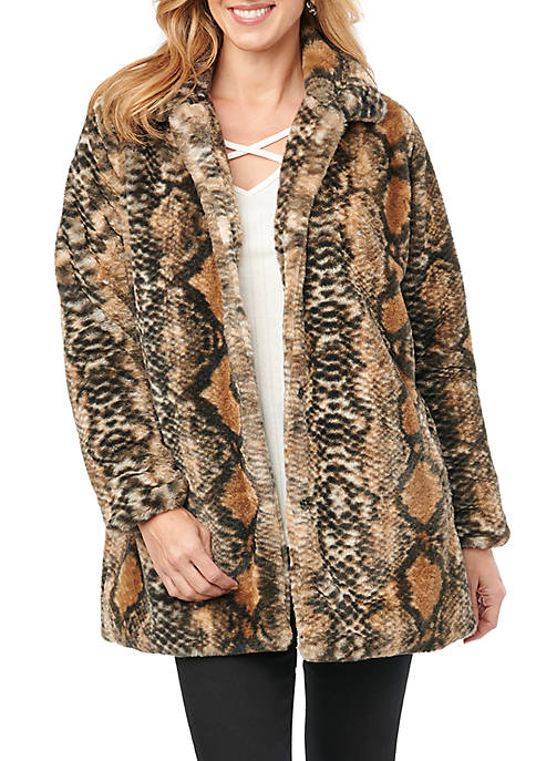 Democracy Womens Snake Print Fur Coat