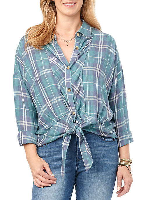 Democracy Tie Front Plaid Top