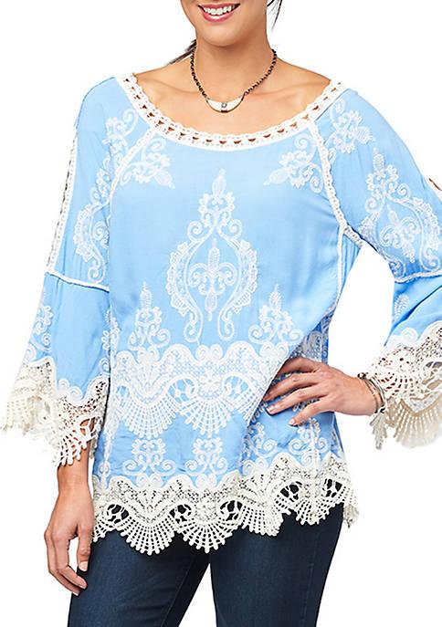 Flare Sleeve Crochet Top