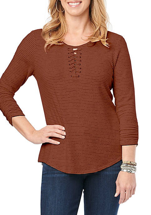 Democracy 3/4 Sleeve Lace Up Striped Top