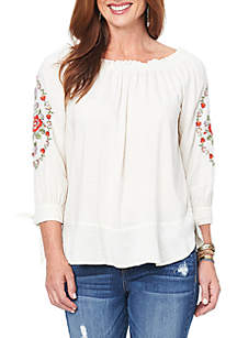 3/4 Tie Sleeve Embroidered Top