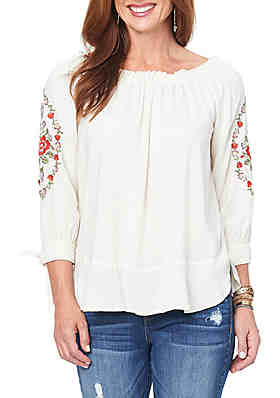 248cc73bd9e60 Democracy 3 4 Tie Sleeve Embroidered Top ...