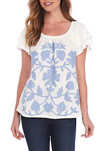 Double Ruffle Embroidered Sleeve Tee