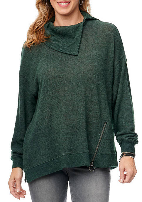 Democracy Womens Cowl Asymmetrical Zip Hem Sweatshirt