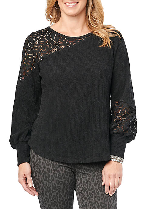Long Sleeve Lace Inset Rib Top