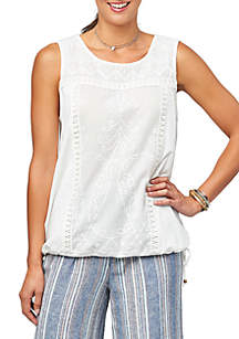 Democracy Knit Embroidered Tank