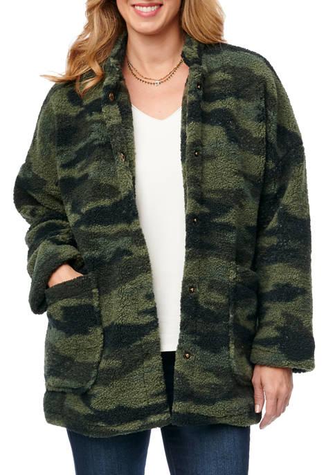 Democracy Womens Camo Stand Collar Sherpa Coat