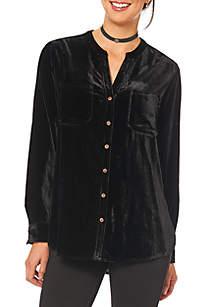 Button Down Shirttail Top