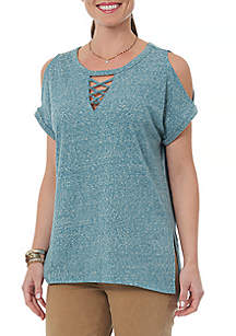 Short Sleeve Cold Shoulder Lace-Up Top