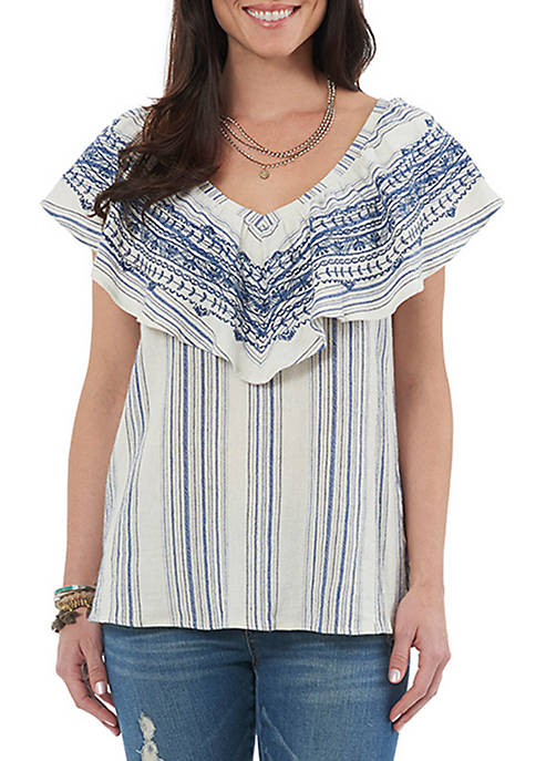 Democracy Off-The-Shoulder V-Neck Flounce Top